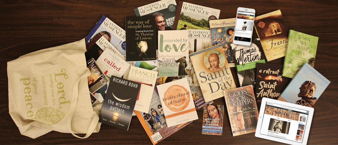 A sample collection of the variety of Franciscan Media products
