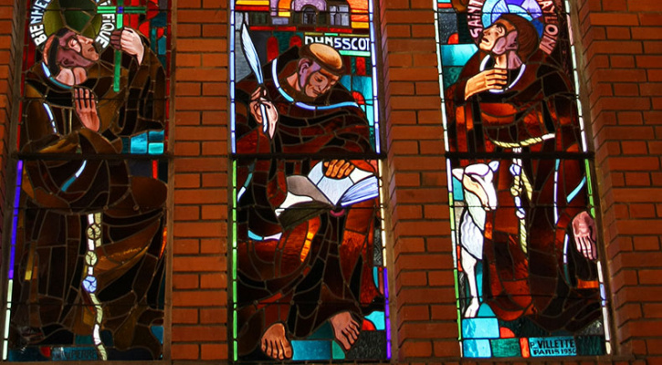 Stained glass in Franciscan Convent Chapel in Paris, Saints Bonaventure, John Duns Scotus, Anthony of Padua, and Paschal Baylon
