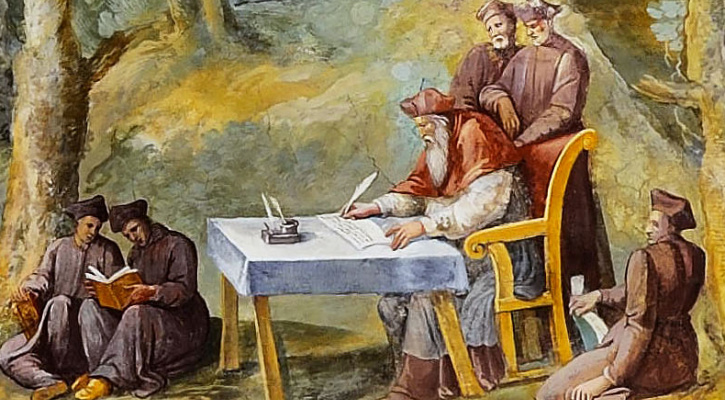 Detail of Cardinal Peter Damian recruits young hermits in the maps room of the Vatican Museums