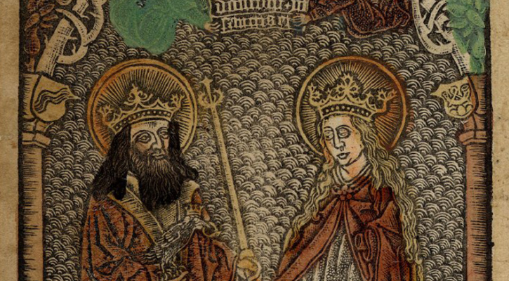 Saints Oswald and Notburga, Hand-colored metalcut print