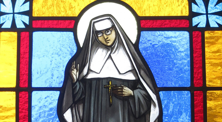 Stained glass of Saint Katharine Drexel, Saint Stephen, Martyr Roman Catholic Church, Chesapeake, Virginia