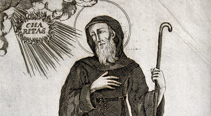 Engraving of Saint Francis of Paula holding a walking stick and looking