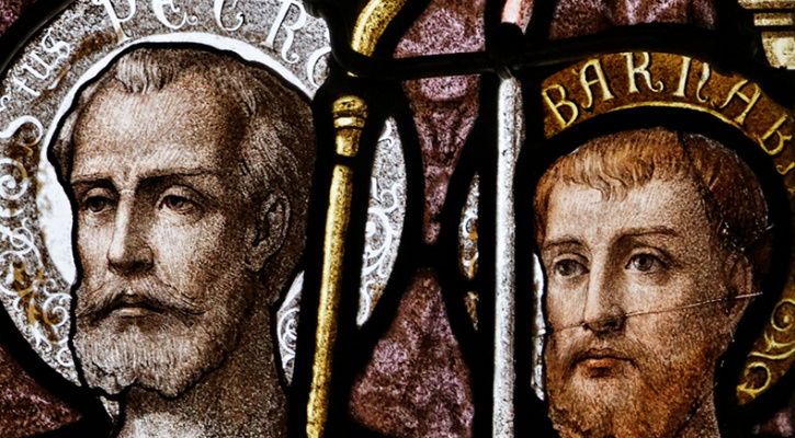 Stained glass window of Saints Peter and Barnabas in the cathedral of Saint Corentin