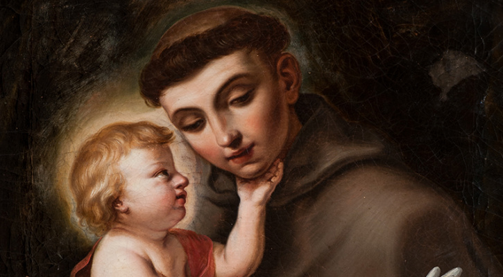 Painting of St. Anthony of Padua holding the Infant Jesus