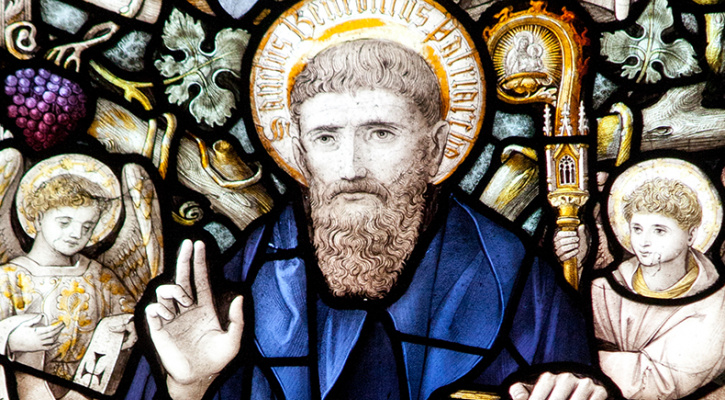 St. Benedict of Nursia depicted in a stained glass window