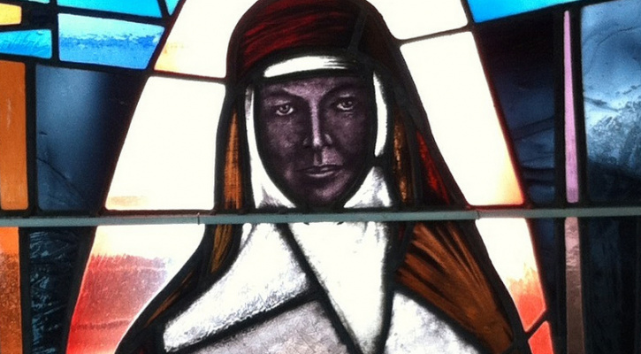 Stained glass window depicting St. Mary MacKillop, the first Australian to be canonized.