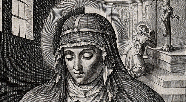 Line engraving depicting St. Bridget of Sweden