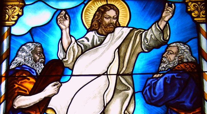 Stained glass window depicting the Lord's transfiguration