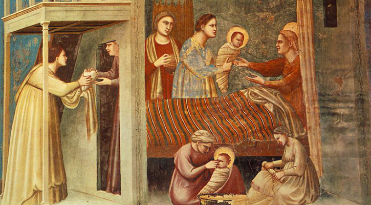 Fresco depicting the Blessed Virgin's birth