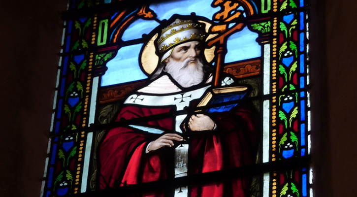 Stained glass window depicting St. Cornelius