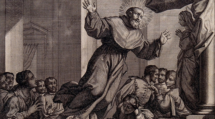 Line engraving depicting St. Joseph of Cupertino