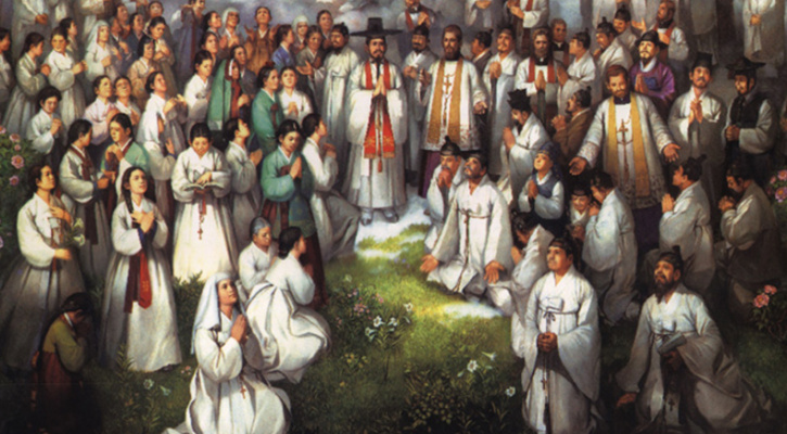 Painting depicting St. Andrew Kim Taegon and Companions