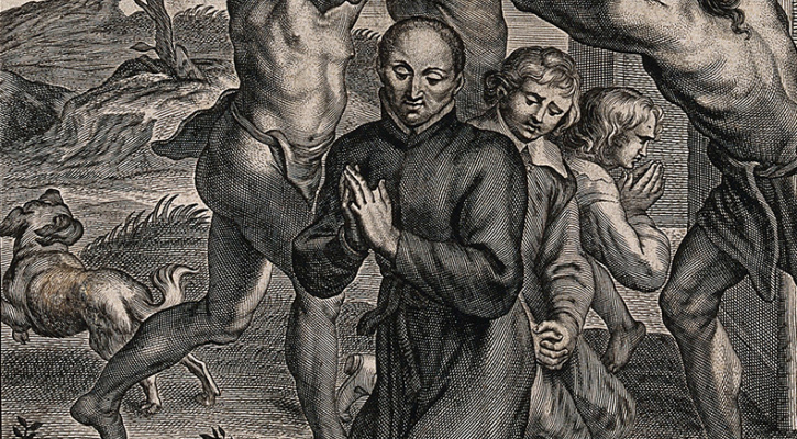 Engraving titled Martyrdom of Father Isaac Jogues S.J.