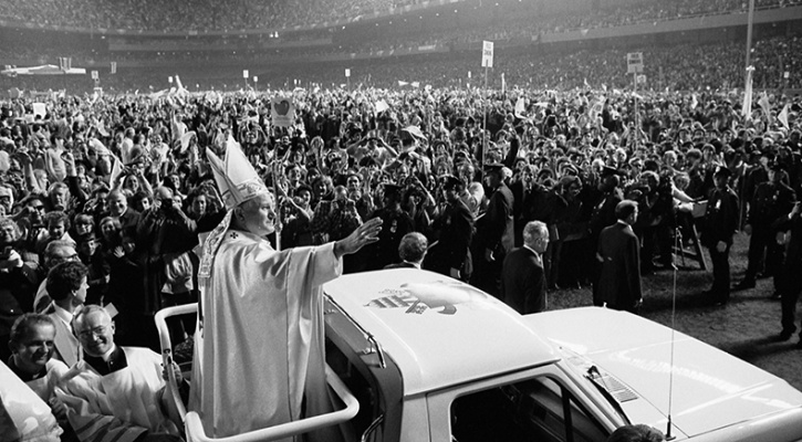 Photo of Pope John Paul II at old Yankee Stadium, New York City, in October 1979