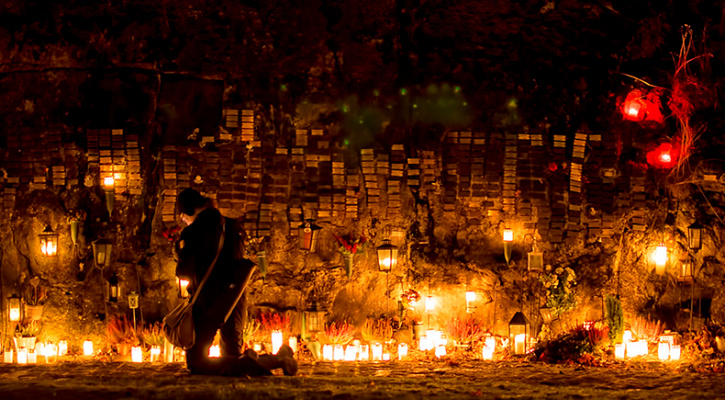 Photo of evening of All Saints' Day at Malmi Cemetery, Helsinki, Finland