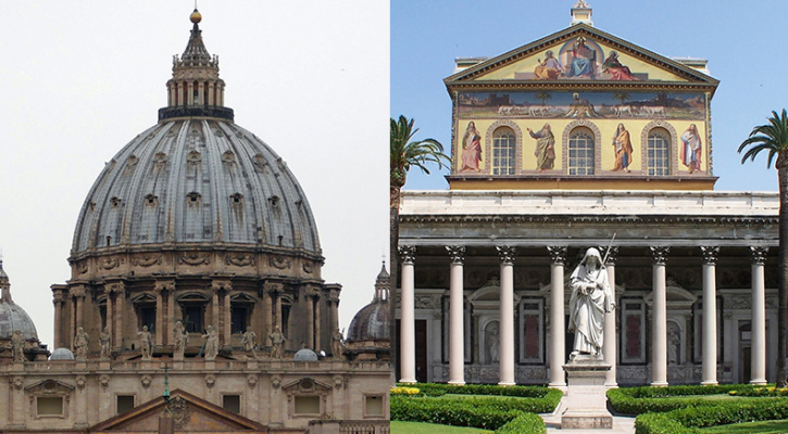 Photo of the Papal Basilica of Saint Peter in the Vatican, Statue of Saint Paul in front of the facade of the Basilica of Saint Paul outside the Wall, Rome