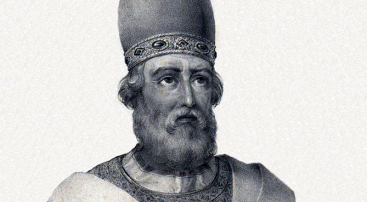 Lithography of Pope Saint Damasus I, by Pedro Augusto Guglielmi