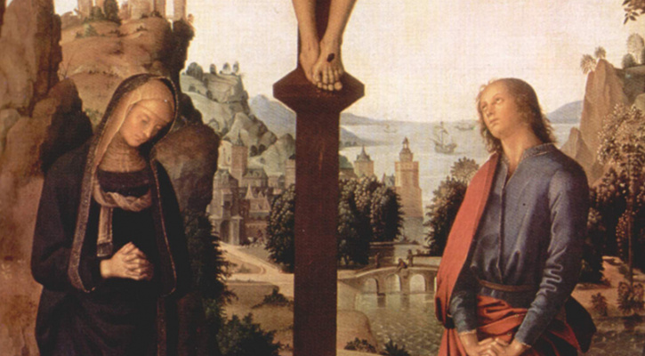 Detail of the central panel of a triptych titled Crucifixion with the Virgin and St. John, by Pietro Perugino