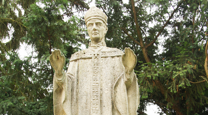 Statue of Saint Adalbert of Prague near Church of the Visitation of Our Lady in Hluboké Mašůvky, Znojmo District