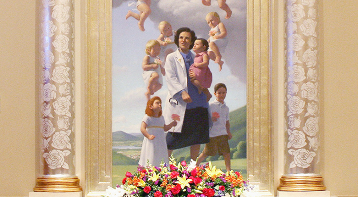 Painting of Saint Gianna Beretta Molla with her children, Shrine of Our Lady of Guadalupe