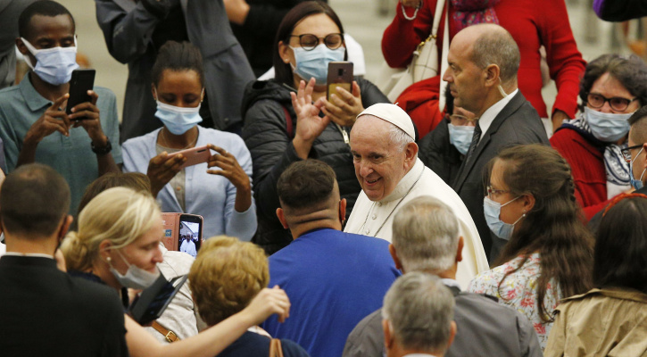 Pope Francis greets people during his general audience in Paul VI hall at the Vatican Oct. 7, 2020. (CNS photo/Paul Haring)