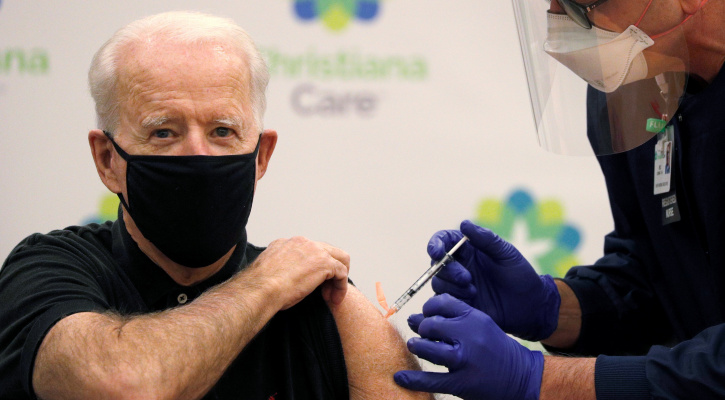 President-elect Joe Biden receives his second dose of a COVID-19 vaccine at ChristianaCare Christiana Hospital in Newark, Del., Jan. 11, 2021. (CNS photo/Tom Brenner, Reuters)
