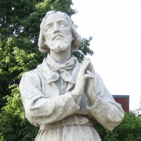 Statue of Saint Isidore the Farmer at Saint Isidore Catholic Church, Bloomingdale, Illinois